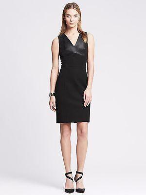New Banana Republic Black Sloan-Fit Faux-Leather Cutout Sheath Dress size 6  NWT