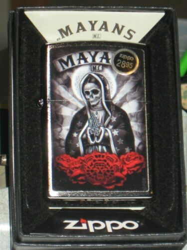 NEW Windproof Flame oil ZIPPO USA Lighter Skull 49019 Mayans M C Brushed Chrome