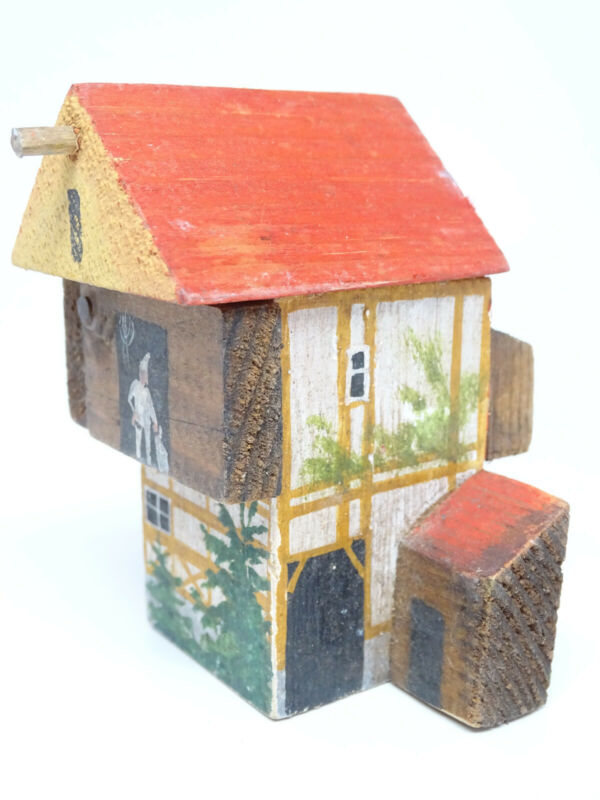 Vintage German Christmas Wooden House, Hand Made, Hand Painted for Putz Creche