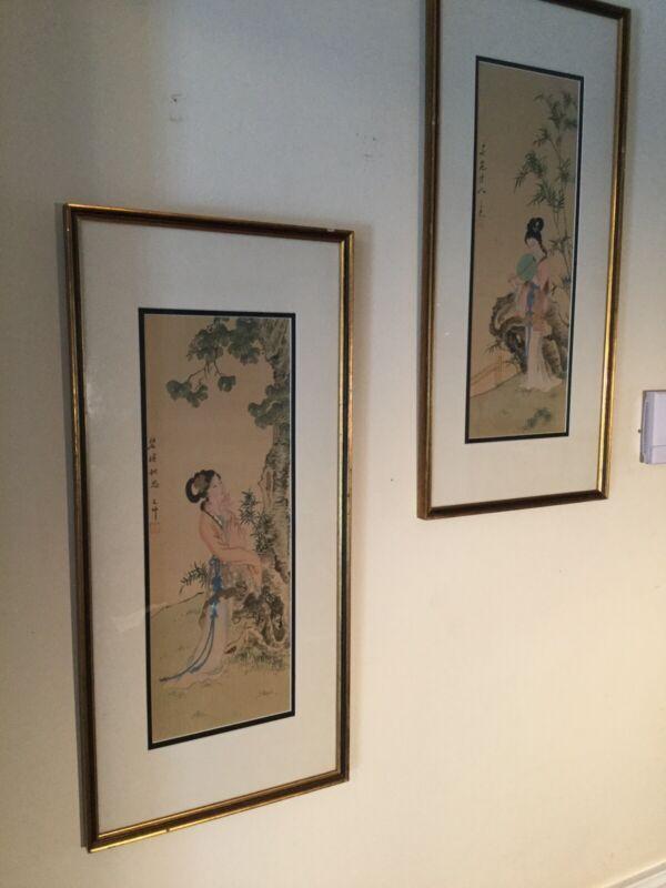 Beautiful Vintage Pair Original Painted Chinese Beauties On Silk Signed /Framed