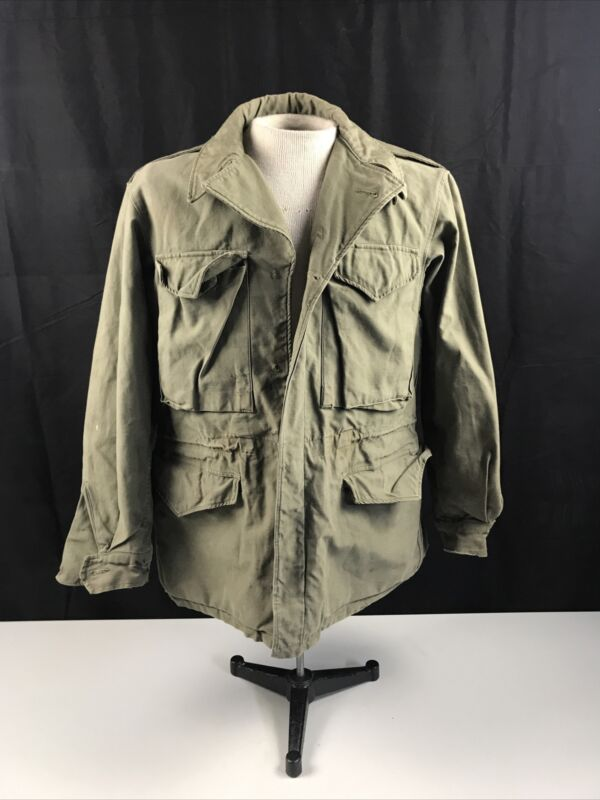 WWII WW2 US Army M43 M-1943 Green Field Jacket Salty in Field Worn