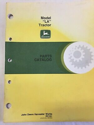 Vintage John Deere Model La Dealer Parts Catalog Pc-151