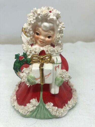 "Vintage Napco Spaghetti Trim 5"" Christmas Angel #S116A Japan Red White Gift"