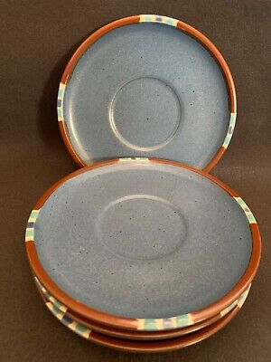 Dansk sky blue stoneware saucers set Of 4 MESA brown rim Japan