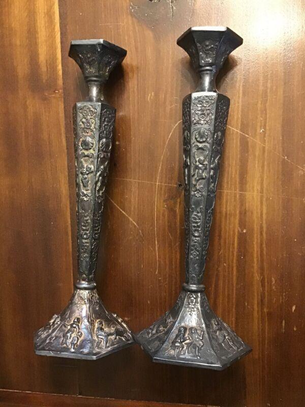 Pair Tall. Antique Candlestick Holders Cherubs Dutch Repousse Silver Plate