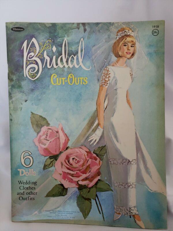 Paper Dolls - Bridal Cutouts - Whitman 1965 Uncut, 6 dolls + clothes mint