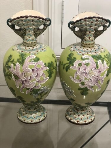 Beautiful Pair Of 1800's Large Antique Victorian Decorative Hand Painted Vases