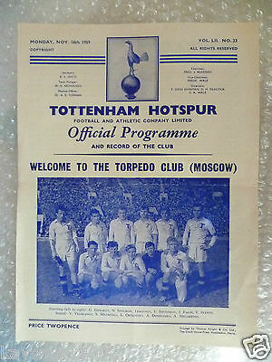 1959 TOTTENHAM HOTSPUR v TORPEDO CLUB (Moscow), 16th Nov