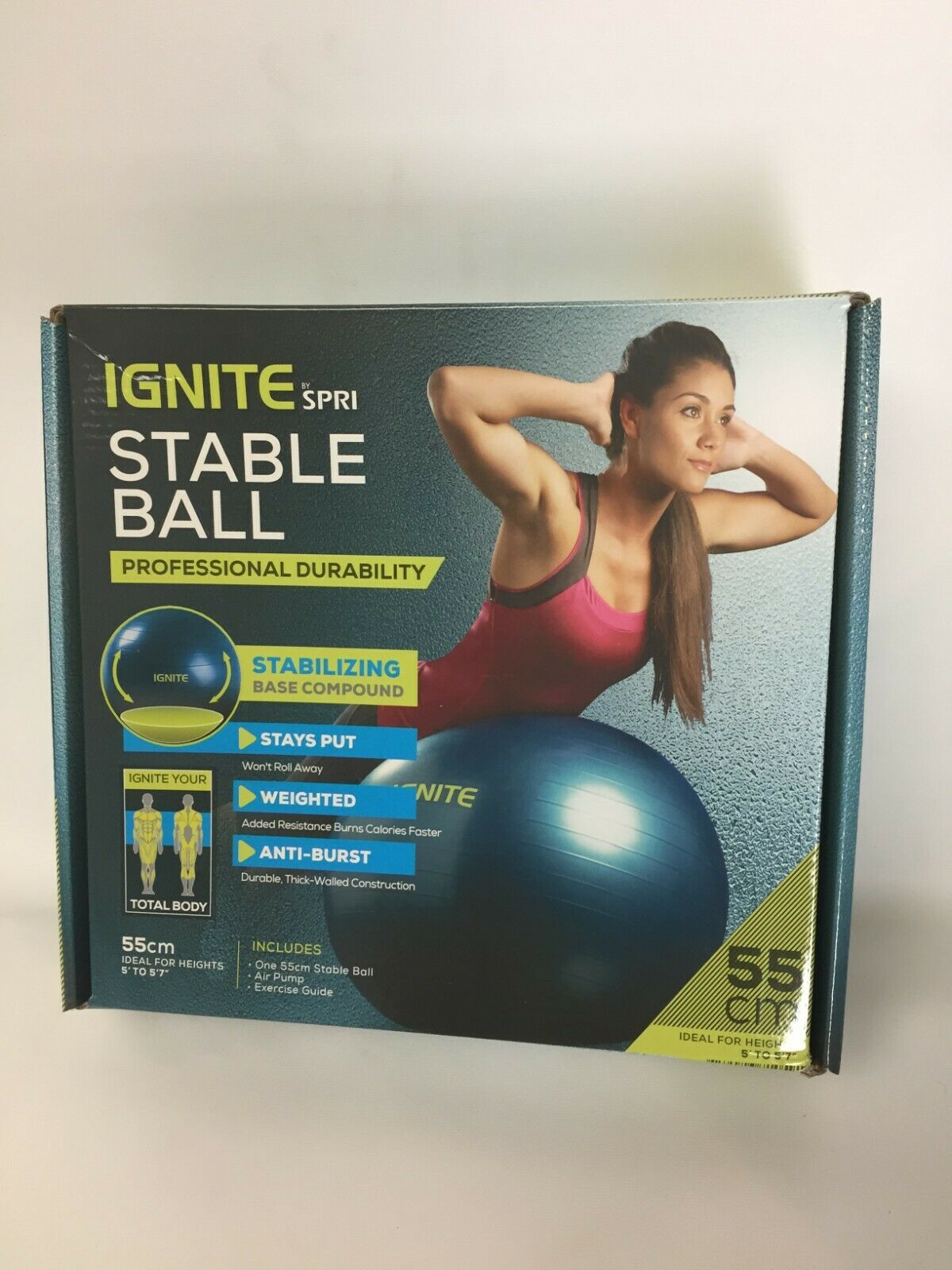 IGNITE By SPRI Stable Ball Anti Burst Weighted 55cm, Ideal F