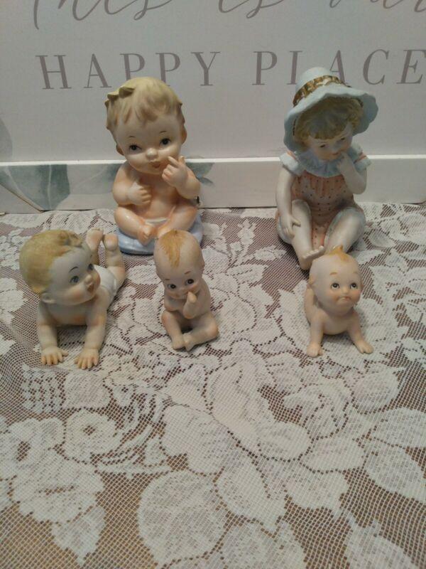Vintage lot 2 KEWPIE bisque, 1 INARCO 1961 BANK,1 NAPCO BABY, 1 BISQUE GIRL