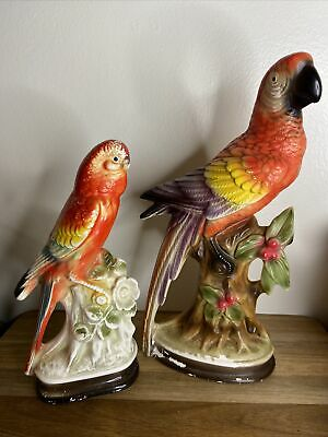 Vintage Porcelain Parrot Figurine Made in Brazil Pastel Colors Majolica 7 38 Tall