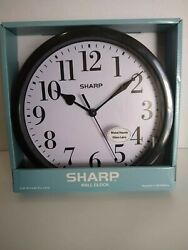 NEW Sharp Wall Clock, Metal Hands, Glass Lens, Black, SPC1124A