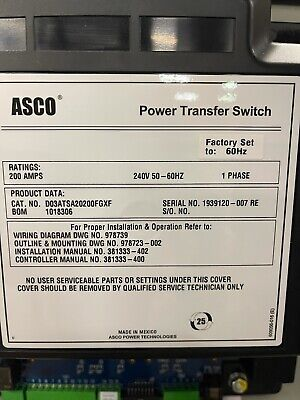Asco 200-amp Automatic Transfer Switch 240120 Or 208v1 Single Phase 2-pole
