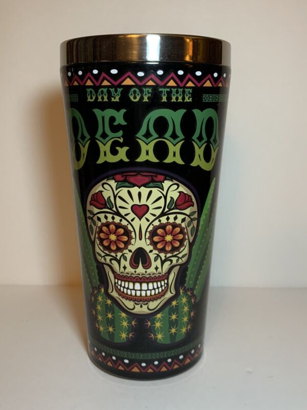 Sugar Skull Stainless Steel Pint Glass Day of the Dead  Dia de los Muertos - New