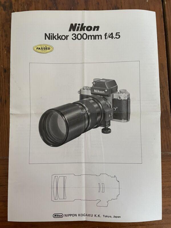 Nikon Nikkor 300mm F4.5 Instruction Manual