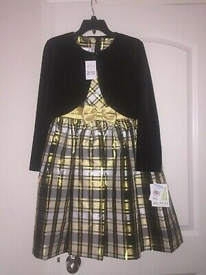 Bonnie Jean Big Girls 2-Pc Plaid/Cardigan Charlotte Gold Dress Size 20 1/2 - Girls Dresses Size 20
