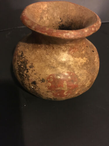 """AUTHENTIC MAYAN PRE COLUMBIAN 1,500 YEAR OLD POISON JAR 4"""" TALL ORIGINAL PAINT"""
