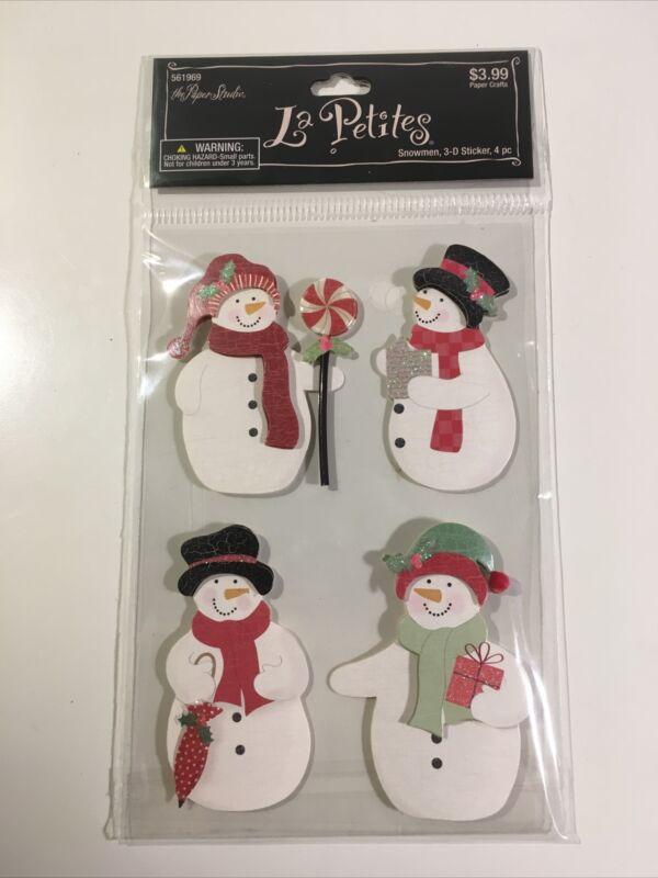 The Paper Studio La Petites 3D SNOWMEN Stickers - 4 PCS Winter Holiday