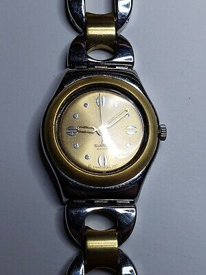 TWO TONE GOLD AND SILVER SWATCH IRONY WOMEN'S WATCH 2001 2002 RUNS!
