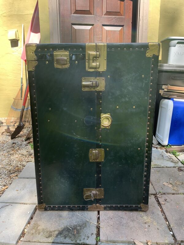 Antique Wardrobe Steamer Trunk Luggage Chest Vintage Original Complete With Keys