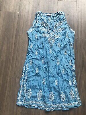 Juliet Dunn London Blue Sequin Silk Tunic 3 £235 12/14