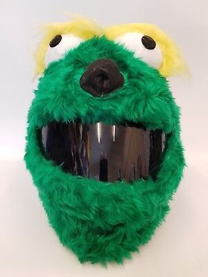 Green with Yellow Lash Funny Heeds Crazy Crash Helmet Cover - Crazy Lashes