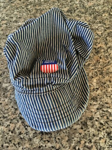 Vintage UNION PACIFIC Striped Denim Railroad Engineer Hat/Cap -- Made in USA