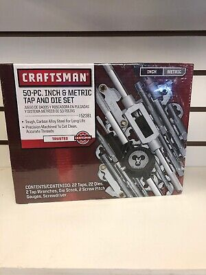 New Craftsman 50pc Piece Sae Metric Tap And Die Set Taper Pipe Plug Nc Nf Thread