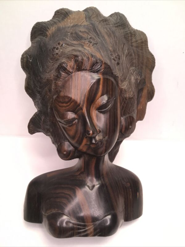 Hand Carved Rosewood Balinese Bust Bali  Goddess Indonesian Woman