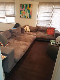 DARE GALLERY Grey Suede Sofa Lounge Suite, EXCELLENT!!!!