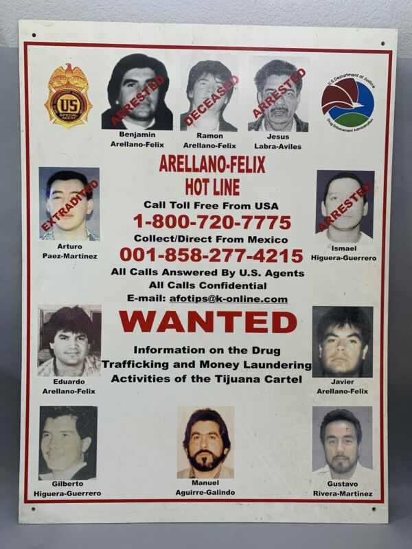 AUTHENTIC WANTED POSTER Arellano Felix Drug Cartel Very Rare Reward Tijuana Mex