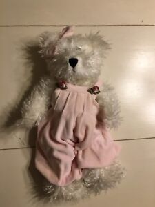 """14"""" plush Boyd's Bear white bear with pink overalls and bow"""