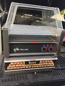 Hot Dog grill with bun warmer
