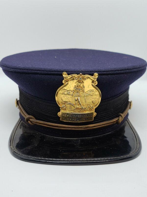 Antique Norfolk VA. Dep City Sergeant Police Cap Hat - Vintage Obsolete Virginia