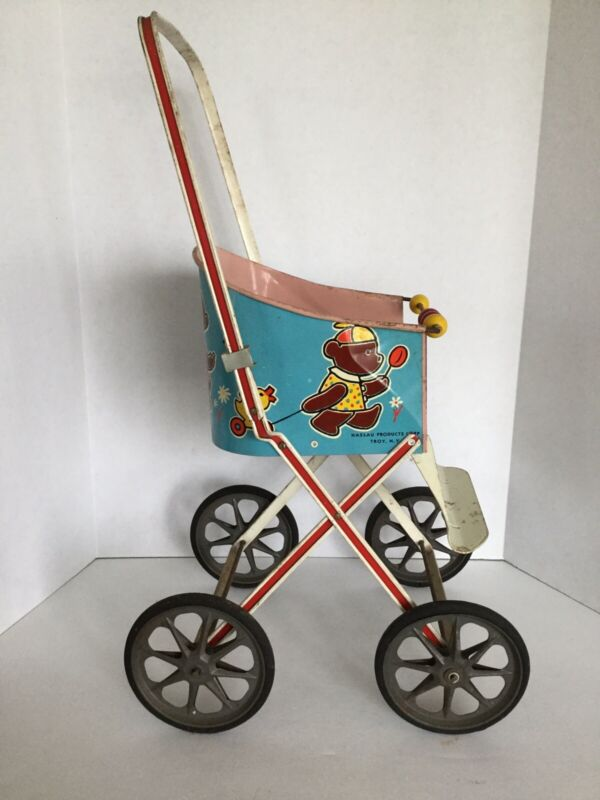 Vintage Tin Litho Bear Toy Doll Push Stroller Carriage Nassau Products, Troy, NY