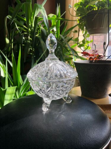 Vintage Diamond Cut Crystal Covered 3 Footed Dish. Mint!