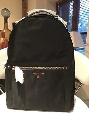 Michael Kors KELSEY black nylon backpack women gold zips BRAND NEW 100% GENUINE