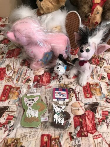 Lot of 5 Chinese Crested Dog Items Webkinz, Applause, Plush Tags Key Chain