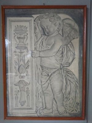 Old Drawing Angel Putto Angelo Hand Drawing 47x65cm