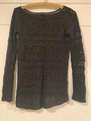 THEORY Dark Gray Open knit Long Sleeve Boat Neck Pullover 100% Wool Sweater S Open Knit Boat Neck