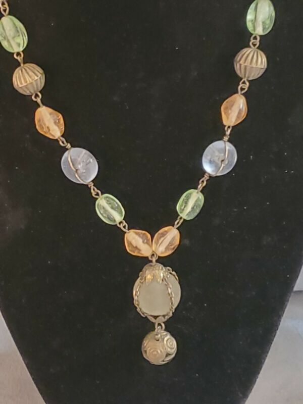 Vintage Blue & Green Frosted Glass Pendant Necklace Handmade
