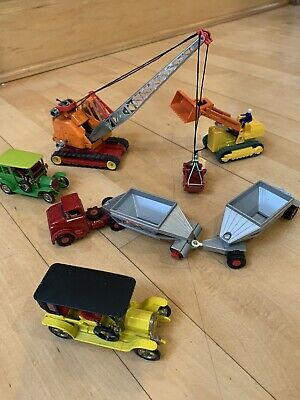 Matchbox Construction K8 And Yesteryear Lesney Diecast Lot of 5 Peugeot Crane