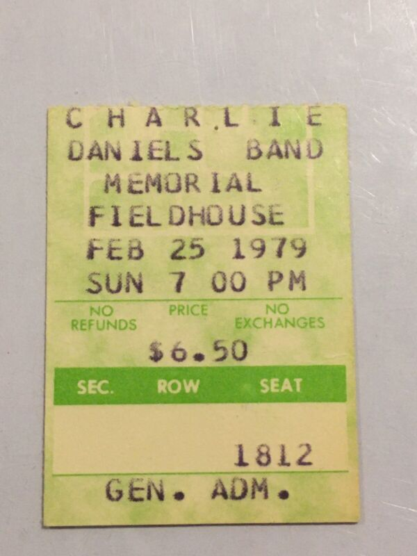 Charlie Daniels 1979 Concert Ticket Stub Pittsburgh