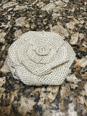 Ivory Burlap Flower Shabby Chic Cottage Wedding Outdoor Party Table -
