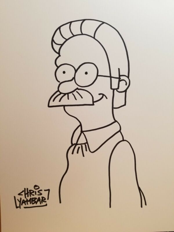 Chris Yambar  The Simpsons Signed Sketch/Original Art/Drawing Ned Flanders