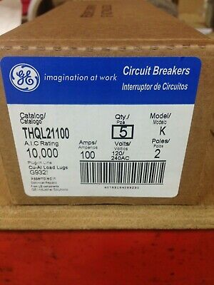 Ge Thql21100 100amp 120240v 2pole Box 5 Breakers New In Factory Box