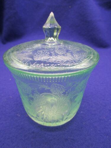 Vintage Strawberry Green Large Sugar with Lid U.S. Glass