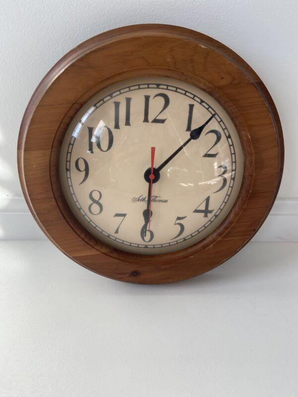 "Vintage Seth Thomas Art Wall Clock Sugar Pine Wood Round 10"" Farmhouse"