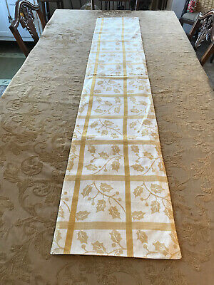 NWOT Fall/Winter Gold Leaf Design With Glittery Gold Thread Table Runner 71