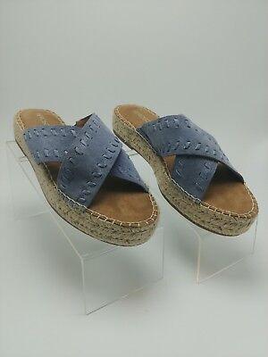 (Aerosoles Women's Sz 9M Blue Suede Rose Gold Sandal (Orig. $79))